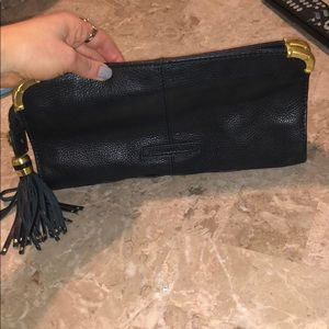 Bcbg black tassel clutch